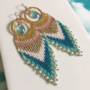 Sand and surf beaded fringe earrings